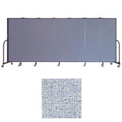 "Screenflex 7 Panel Portable Room Divider, 6'H x 13'1""L, Vinyl Color: Blue Tide"
