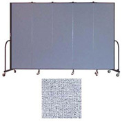 "Screenflex 5 Panel Portable Room Divider, 6'8""H x 9'5""L, Vinyl Color: Blue Tide"