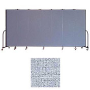 "Screenflex 7 Panel Portable Room Divider, 6'8""H x 13'1""L, Vinyl Color: Blue Tide"