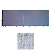 "Screenflex 13 Panel Portable Room Divider, 7'4""H x 24'1""L, Vinyl Color: Blue Tide"