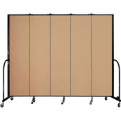 "Screenflex 5 Panel Portable Room Divider, 7'4""H x 9'5""L, Fabric Color: Desert"