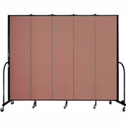 "Screenflex 5 Panel Portable Room Divider, 7'4""H x 9'5""L, Fabric Color: Cranberry"
