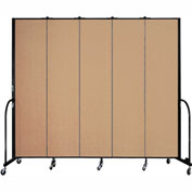 "Screenflex 5 Panel Portable Room Divider, 8'H x 9'5""L, Fabric Color: Desert"