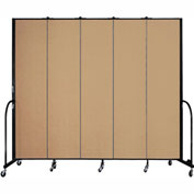 "Screenflex 5 Panel Portable Room Divider, 8'H x 9'5""L, Fabric Color: Sand"