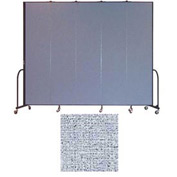 "Screenflex 5 Panel Portable Room Divider, 8'H x 9'5""L, Vinyl Color: Blue Tide"