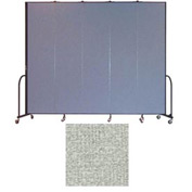 "Screenflex 5 Panel Portable Room Divider, 8'H x 9'5""L, Vinyl Color: Mint"
