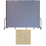 "Screenflex 5 Panel Portable Room Divider, 8'H x 9'5""L, Vinyl Color: Sandalwood"