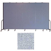 "Screenflex 7 Panel Portable Room Divider, 8'H x 13'1""L, Vinyl Color: Blue Tide"