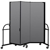 "Screenflex 3 Panel Heavy Duty Portable Room Divider - 6'H x 5' 9""L - Fabric Color: Stone"