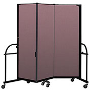 "Screenflex 3 Panel Heavy Duty Portable Room Divider - 6'H x 5' 9""L - Fabric Color: Rose"