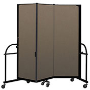 "Screenflex 3 Panel Heavy Duty Portable Room Divider - 6'H x 5' 9""L - Fabric Color: Walnut"