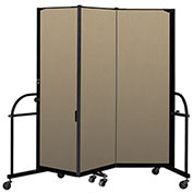 "Screenflex 3 Panel Heavy Duty Portable Room Divider - 6'H x 5' 9""L - Fabric Color: Desert"