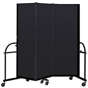 "Screenflex 3 Panel Heavy Duty Portable Room Divider - 6'H x 5' 9""L - Fabric Color: Charcoal"