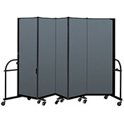 "Screenflex 5 Panel Heavy Duty Portable Room Divider - 6'H x 9' 5""L - Fabric Color: Lake"