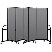 "Screenflex 5 Panel Heavy Duty Portable Room Divider - 6'H x 9' 5""L - Fabric Color: Stone"