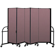 "Screenflex 5 Panel Heavy Duty Portable Room Divider - 6'H x 9' 5""L - Fabric Color: Rose"