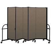 "Screenflex 5 Panel Heavy Duty Portable Room Divider - 6'H x 9' 5""L - Fabric Color: Walnut"