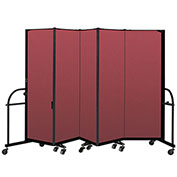 "Screenflex 5 Panel Heavy Duty Portable Room Divider - 6'H x 9' 5""L - Fabric Color: Red"