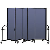 "Screenflex 5 Panel Heavy Duty Portable Room Divider - 6'H x 9' 5""L - Fabric Color: Blue"
