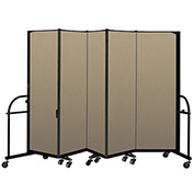 "Screenflex 5 Panel Heavy Duty Portable Room Divider - 6'H x 9' 5""L - Fabric Color: Desert"