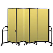 "Screenflex 5 Panel Heavy Duty Portable Room Divider - 6'H x 9' 5""L - Fabric Color: Yellow"