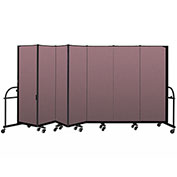 "Screenflex 7 Panel Heavy Duty Portable Room Divider - 6'H x 13' 1""L - Fabric Color: Rose"