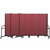 "Screenflex 7 Panel Heavy Duty Portable Room Divider - 6'H x 13' 1""L - Fabric Color: Red"
