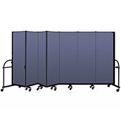 "Screenflex 7 Panel Heavy Duty Portable Room Divider - 6'H x 13' 1""L - Fabric Color: Blue"