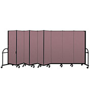 "Screenflex 9 Panel Heavy Duty Portable Room Divider - 6'H x 16' 9""L - Fabric Color: Rose"