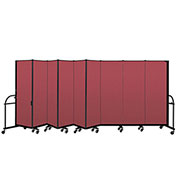 "Screenflex 9 Panel Heavy Duty Portable Room Divider - 6'H x 16' 9""L - Fabric Color: Red"