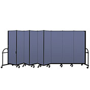 "Screenflex 9 Panel Heavy Duty Portable Room Divider - 6'H x 16' 9""L - Fabric Color: Blue"