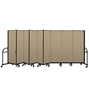 "Screenflex 9 Panel Heavy Duty Portable Room Divider - 6'H x 16' 9""L - Fabric Color: Desert"