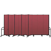 "Screenflex 11 Panel Heavy Duty Portable Room Divider - 7'4""H x 20'5""L - Fabric Color: Red"
