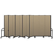 "Screenflex 11 Panel Heavy Duty Portable Room Divider - 7'4""H x 20'5""L - Fabric Color: Desert"