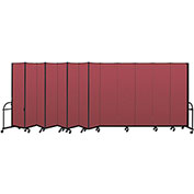 "Screenflex 13 Panel Heavy Duty Portable Room Divider - 7'4""H x 24'1""L - Fabric Color: Red"