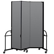 "Screenflex 3 Panel Heavy Duty Portable Room Divider - 7' 4""H x 5' 9""L - Fabric Color: Stone"
