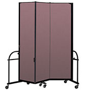 "Screenflex 3 Panel Heavy Duty Portable Room Divider - 7' 4""H x 5' 9""L - Fabric Color: Rose"