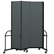 "Screenflex 3 Panel Heavy Duty Portable Room Divider - 7' 4""H x 5' 9""L - Fabric Color: Mallard"