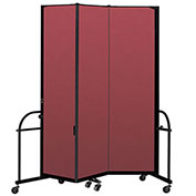"Screenflex 3 Panel Heavy Duty Portable Room Divider - 7' 4""H x 5' 9""L - Fabric Color: Red"