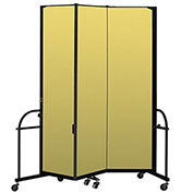"Screenflex 3 Panel Heavy Duty Portable Room Divider - 7' 4""H x 5' 9""L - Fabric Color: Yellow"