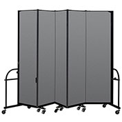 "Screenflex 5 Panel Heavy Duty Portable Room Divider - 7' 4""H x 9' 5""L - Fabric Color: Stone"