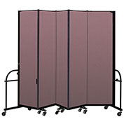 "Screenflex 5 Panel Heavy Duty Portable Room Divider - 7' 4""H x 9' 5""L - Fabric Color: Rose"