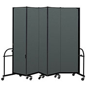 "Screenflex 5 Panel Heavy Duty Portable Room Divider - 7' 4""H x 9' 5""L - Fabric Color: Mallard"