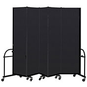 "Screenflex 5 Panel Heavy Duty Portable Room Divider - 7' 4""H x 9' 5""L - Fabric Color: Charcoal"