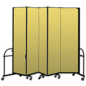 "Screenflex 5 Panel Heavy Duty Portable Room Divider - 7' 4""H x 9' 5""L - Fabric Color: Yellow"