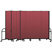"Screenflex 7 Panel Heavy Duty Portable Room Divider - 7' 4""H x 13' 1""L - Fabric Color: Red"