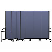 "Screenflex 7 Panel Heavy Duty Portable Room Divider - 7' 4""H x 13' 1""L - Fabric Color: Blue"