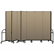 "Screenflex 7 Panel Heavy Duty Portable Room Divider - 7' 4""H x 13' 1""L - Fabric Color: Desert"