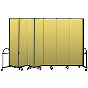 "Screenflex 7 Panel Heavy Duty Portable Room Divider - 7' 4""H x 13' 1""L - Fabric Color: Yellow"