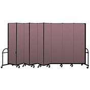 "Screenflex 9 Panel Heavy Duty Portable Room Divider - 7' 4""H x 16' 9""L - Fabric Color: Rose"